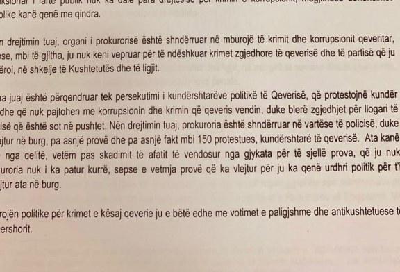 """PD, letër Kryeprokurores Marku: Heto 30 Qershorin, ti """"ushtare e Ramës""""!"""